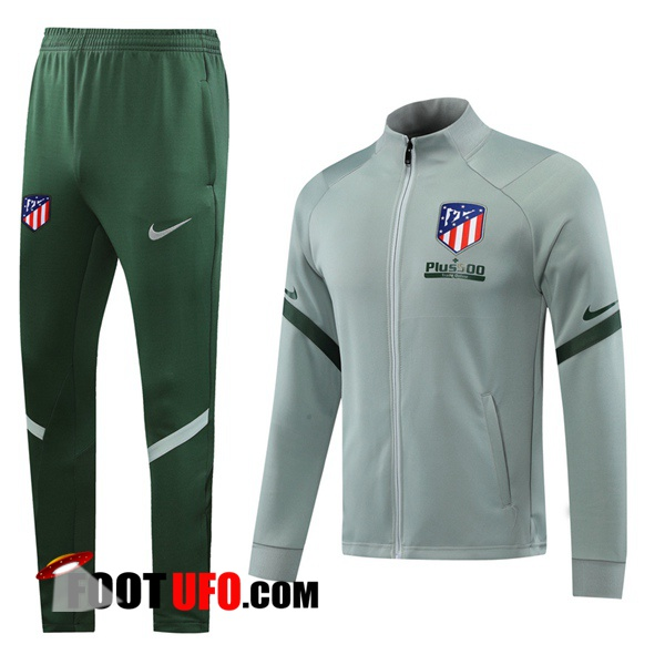 Nouveaux: 11Foots-fr Ensemble Survetement Foot - Veste Atletico Madrid Gris 2020/2021