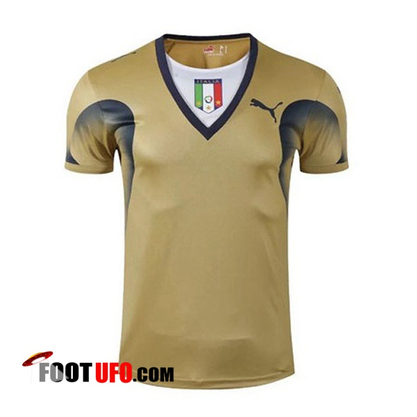 Maillot de Foot Italie Retro Gardien de But Jaune Coupe du Monde 2006