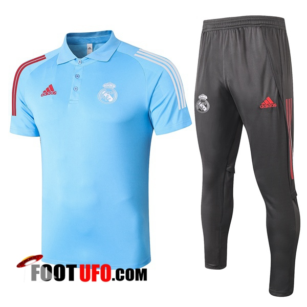 Nouveaux: 11Foots-fr Ensemble Polo Real Madrid + Pantalon Bleu 2020/2021