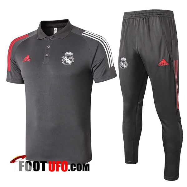 Nouveaux: 11Foots-fr Ensemble Polo Real Madrid + Pantalon Gris 2020/2021