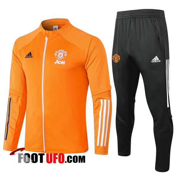 Nouveaux: 11Foots-fr Ensemble Survetement de Foot - Veste Manchester United Orange 2020/2021