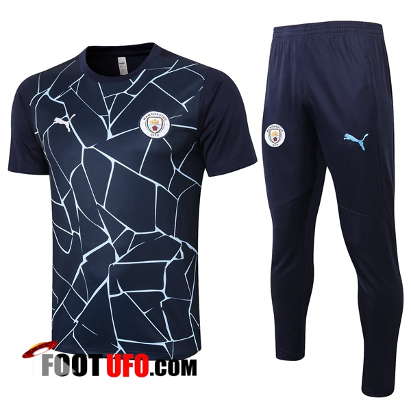 Ensemble Training T-Shirts Manchester City + Pantalon Bleu Royal 2020/2021