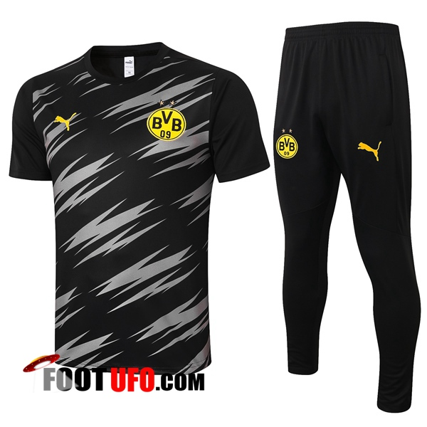 Ensemble Training T-Shirts Dortmund BVB + Pantalon Noir 2020/2021