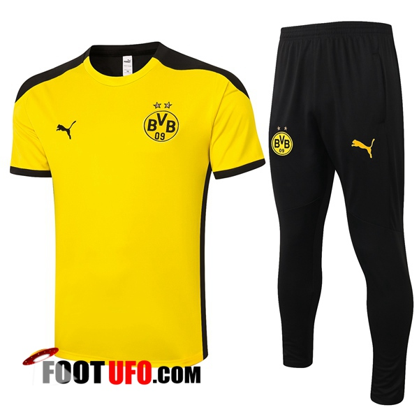 Ensemble Training T-Shirts Dortmund BVB + Pantalon Jaune 2020/2021