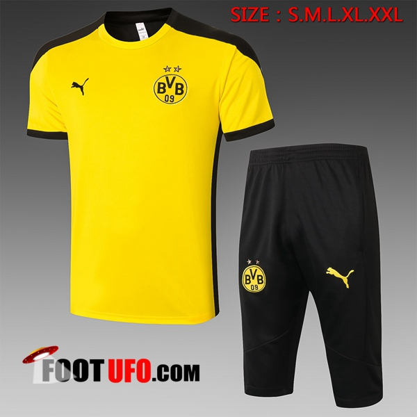 Ensemble Training T-Shirts Dortmund BVB + Pantalon 3/4 Jaune 2020/2021