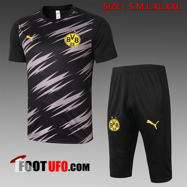 Ensemble Training T-Shirts Dortmund BVB + Pantalon 3/4 Noir 2020/2021